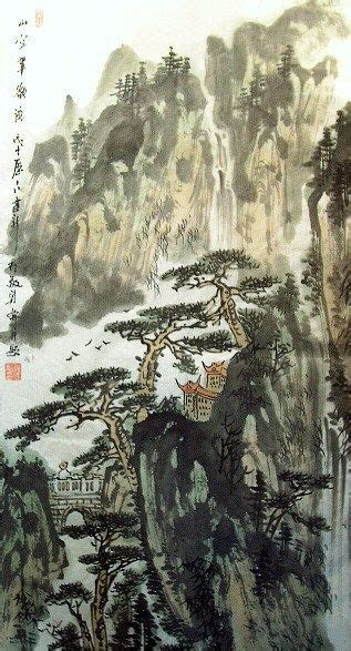 Chinese Painting: Landscape with trees - Chinese Painting