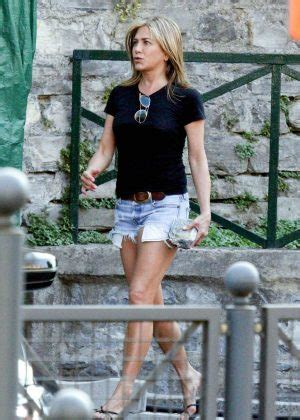 Jennifer Aniston in Jeans Shorts - Leaving the set of