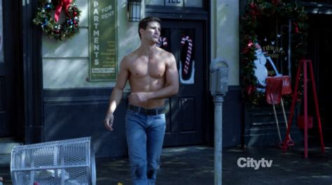 Parker Young as Ryan Shay shirtless in Suburgatory 2×07